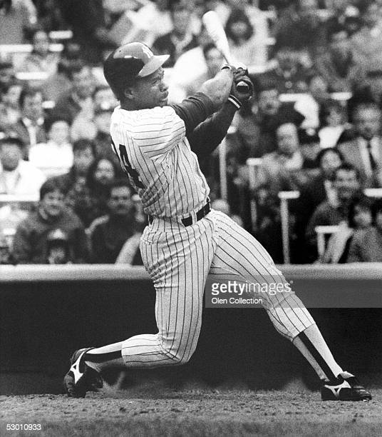 NEW YORK 1980's Outfielder Rickey Henderson of the New York Yankees at bat during a game in the 1980's at Yankee Stadium in New York New York