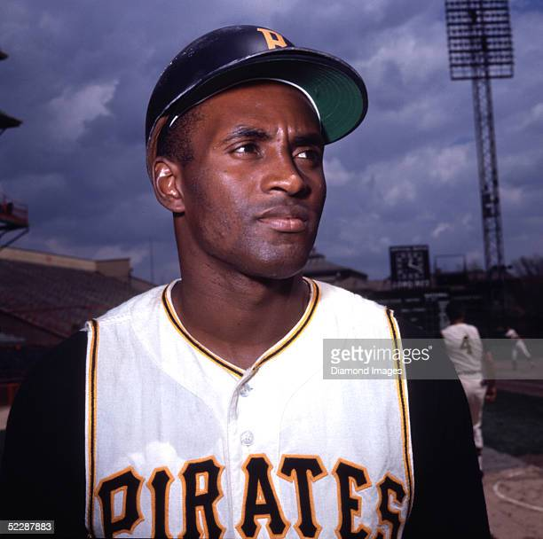 Outfielder Roberto Clemente of the Pittsburgh Pirates poses for a portrait prior to a game in the 1960's at Forbes Field in Pittsburgh, Pennsylvania.