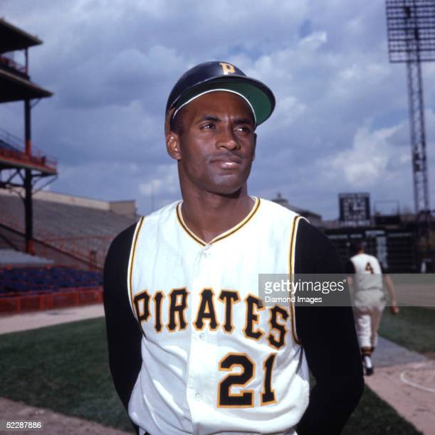 PITTSBURGH 1960's Outfielder Roberto Clemente of the Pittsburgh Pirates poses for a portrait prior to a game in the 1960's at Forbes Field in...