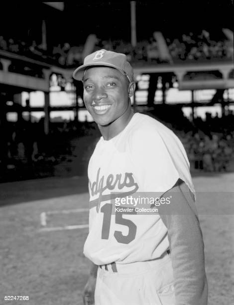 BROOKLYN NY 1950's Outfielder Sandy Amoros of the Brooklyn Dodgers poses for the camera at Ebbets Field in Brooklyn New York in the 1950's Amoros...