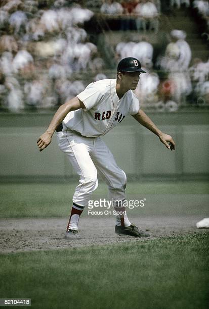S: Outfielder Tony Conigliaro of the Boston Red Sox leads off of second base during a circa mid 1960's Major League Baseball game at Fenway Park in...