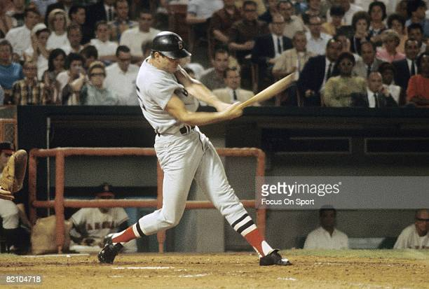 ANAHEIM CA CIRCA 1960's Outfielder Tony Conigliaro of the Boston Red Sox swings and watches the flight of his ball against the California Angels...