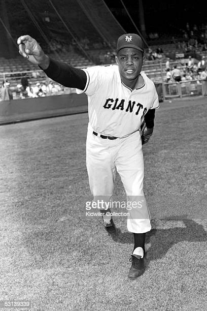 S: Outfielder Willie Mays, of the New York Giants, poses for an action portrait prior to a game in the at the Polo Grounds in New York, New York.