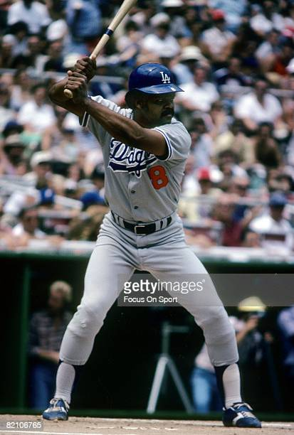 CIRCA 1970's Outfielder/First Baseman Reggie Smith of the Los Angeles Dodgers stands at the plate ready to hit during a late circa 1970's Major...