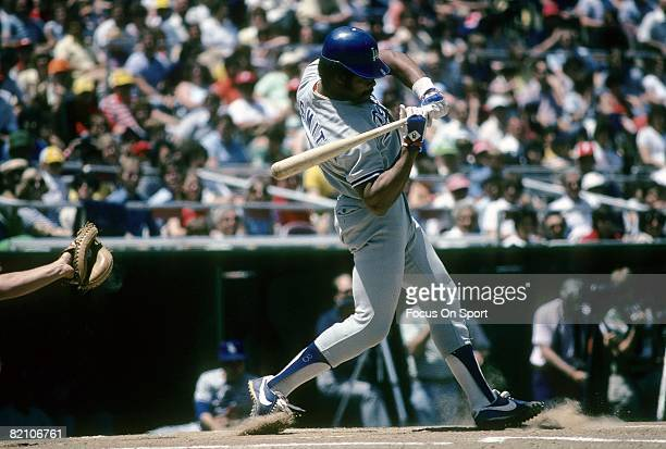 CIRCA 1970's Outfielder/First Baseman Reggie Smith of the Los Angeles Dodgers checks his swing during a late circa 1970's Major League Baseball game...