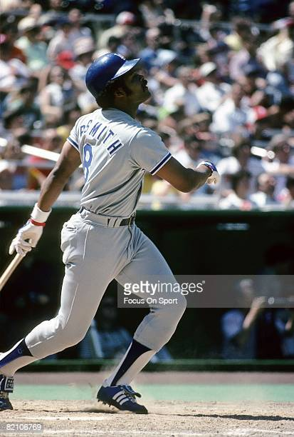 CIRCA 1970's Outfielder/First Baseman Reggie Smith of the Los Angeles Dodgers swings and watches the flight of his ball during a late circa 1970's...