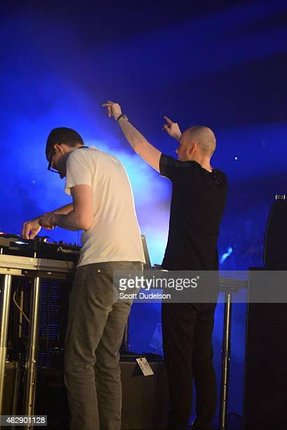 DJ's Paavo Siljamaki and Jono Grant of Above Beyond perform on stage at The Forum on February 6 2015 in Inglewood California