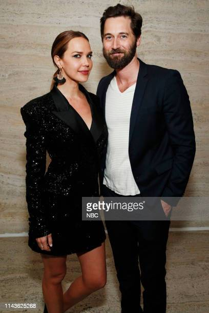 """S Party at THE POOL Celebrating NBC's New Season -- Pictured: Arielle Kebbel, """"Lincoln"""" on NBC; Ryan Eggold, """"New Amsterdam"""" on NBC --"""