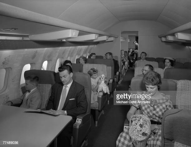 NEW YORK MID 1950's Passengers on a Transocean Air lines Boeing 377 Stratocruiser in the mid 1950's Transocean Air lines flew between 1946 and 1962...