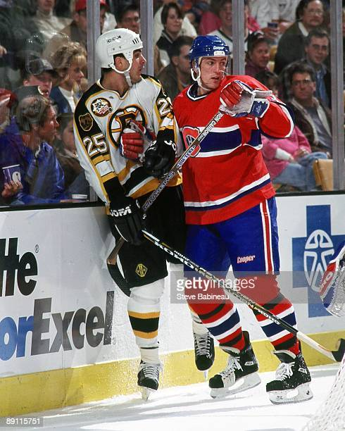 BOSTON MA 1990's Patrice Brisebois of the Montreal Canadiens skates against Kevin Stevens of the Boston Bruins at the Fleet Center in Boston