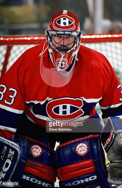 MA 1990's Patrick Roy of the Montreal Canadiens tends goal against the Boston Bruins in game at the Boston Garden