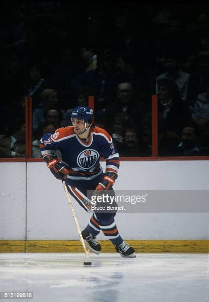 BOSTON MA 1983's Paul Coffey of the Edmonton Oilers skates up ice with puck against the Boston Bruins at the Boston Garden in Boston