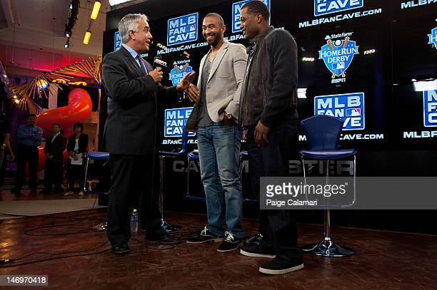 ESPN's Pedro Gomez interviews Los Angeles Dodgers Matt Kemp and New York Yankees Robinson Cano during the MLB AllStar LeadOff Event June 5 2012 at...