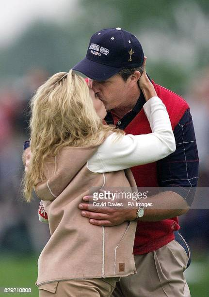 USA's Phil Mickelson kisses his wife Amy after this morning's foursomes in which he partnered David Toms The pair played Europe's Pierre Fulke and...