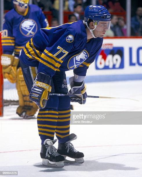 Pierre Turgeon of the Buffalo Sabres prepares for a face off against the Montreal Canadiens in the early 1990's at the Montreal Forum in Montreal,...