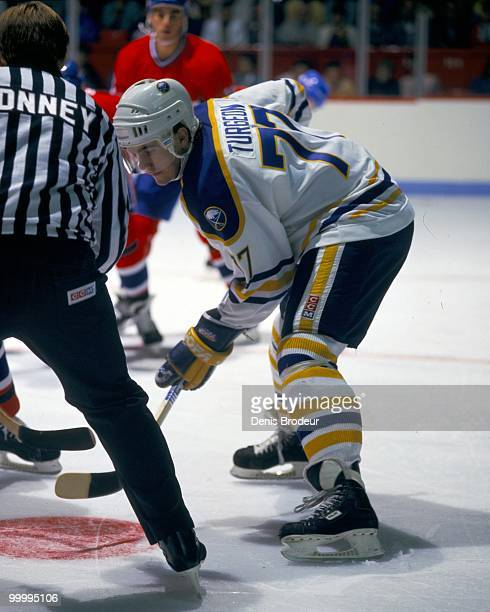 MONTREAL 1990's Pierre Turgeon of the Buffalo Sabres skates against the Montreal Canadiens in the early 1990's at the Montreal Forum in Montreal...