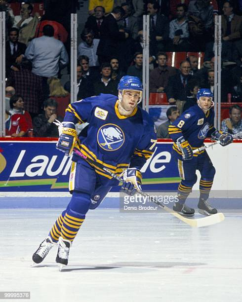 Pierre Turgeon of the Buffalo Sabres skates against the Montreal Canadiens in the early 1990's at the Montreal Forum in Montreal, Quebec, Canada.