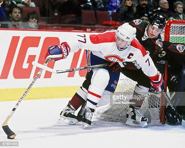Pierre Turgeon of the Montreal Canadiens contols puck in game against the Phoenix Coyotes at the Bell Center.