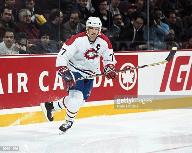 MONTREAL 1990's Pierre Turgeon of the Montreal Canadiens skates during the mid1990's at the Montreal Forum in Montreal Quebec Canada Turgeon played...