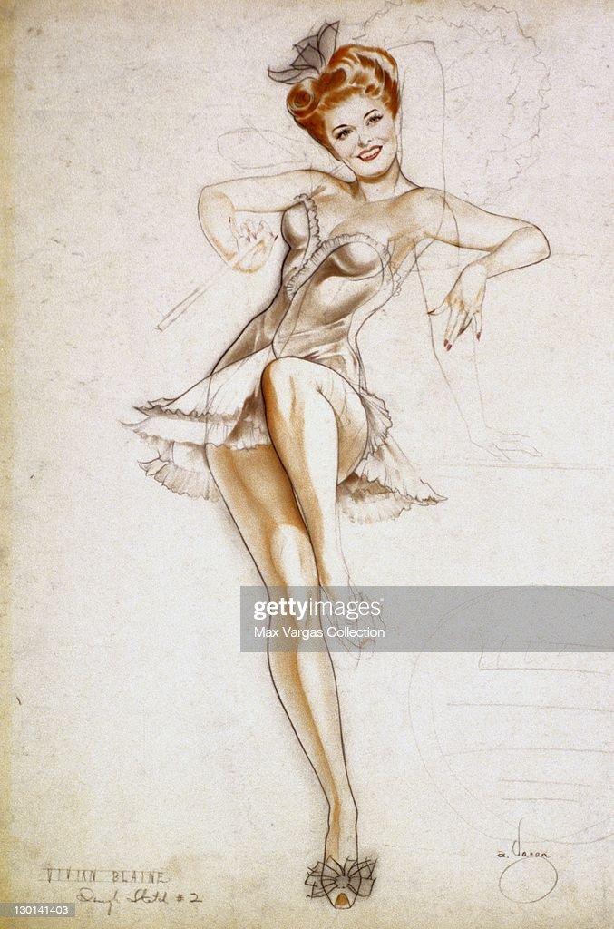 CIRCA 1940's: Pin-up art by Alberto Vargas of actress Vivian Blaine circa 1940's.