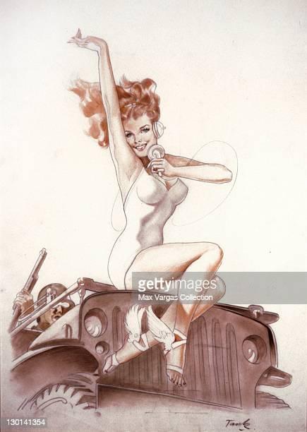 CIRCA 1940's Pinup art by Alberto Vargas titled Jeep girl circa 1940's