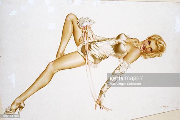 CIRCA 1950's Pinup art by Alberto Vargas titled Modern Bride circa 1950's