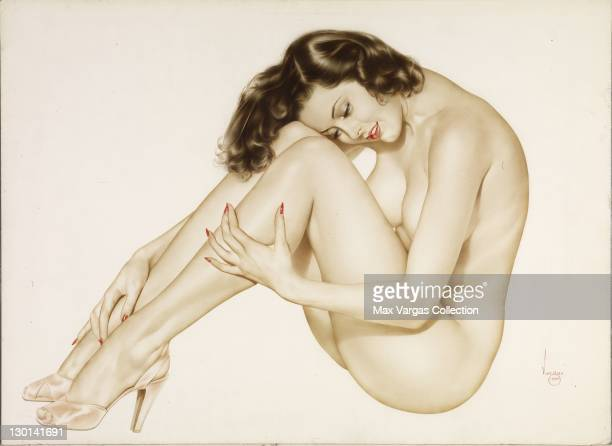 CIRCA 1950's Pinup art by Alberto Vargas titled Nice and Easy circa 1950's
