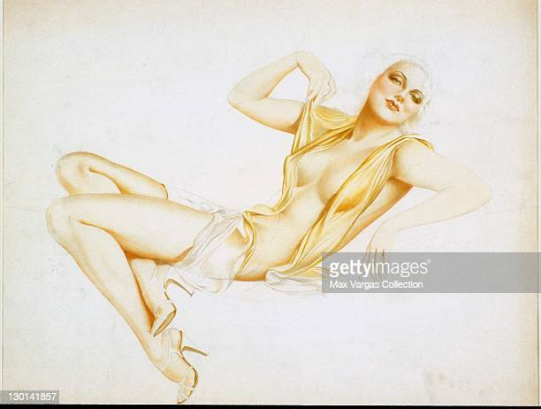 CIRCA 1930's Pinup art by Alberto Vargas titled Nude with Gold Wrap circa 1930's