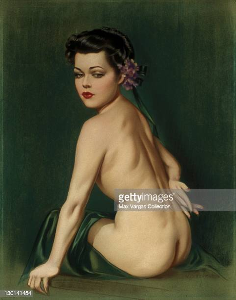CIRCA 1930's Pinup art by Alberto Vargas titled Study of Seated Nude circa 1930's