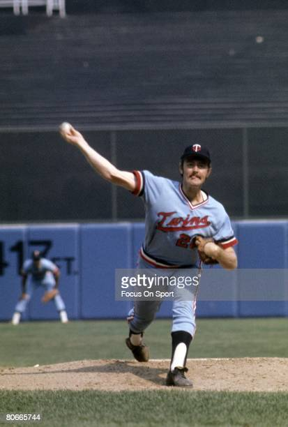 CIRCA 1970's Pitcher Bert Blyleven of the Minnesota Twins pitches during a circa mid 1970's Major League Baseball game Blyleven played for the Twins...