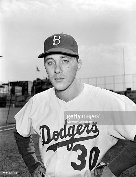 BROOKLYN NY 1950's Pitcher Billy Loes of the Brooklyn Dodgers poses for a portrait at Ebbets Field circa 1950's in Brooklyn New York