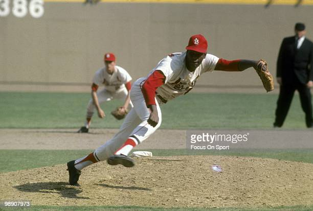 ST LOUIS MO CIRCA 1960's Pitcher Bob Gibson of the St Louis Cardinals follows through on a pitch circa late 1960's during a Major League Baseball...
