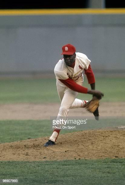 ST LOUIS MO CIRCA 1960's Pitcher Bob Gibson of the St Louis Cardinals pitches circa late 1960's during a Major League Baseball game at Busch Stadium...