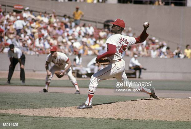 ST LOUIS MO CIRCA 1960's Pitcher Bob Gibson of the St Louis Cardinals pitches during a circa late 1960's Major League Baseball game at Busch Stadium...