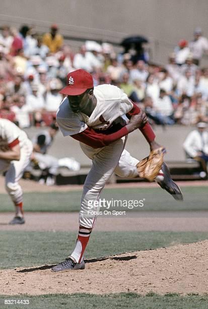 ST LOUIS MO CIRCA 1960's Pitcher Bob Gibson of the St Louis Cardinals pitches during a circa late 1960's Major League Baseball game at Busch Stadium...