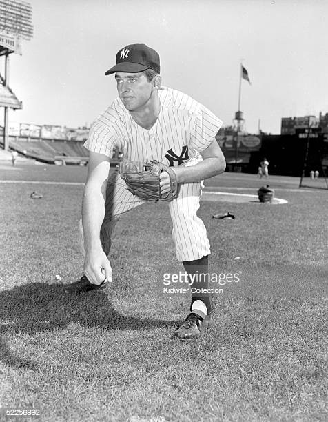 BRONX NY 1950's Pitcher Don Larsen of the New York Yankees poses for a portrait at Yankee Stadium in the Bronx New York Larson played for the Yankees...