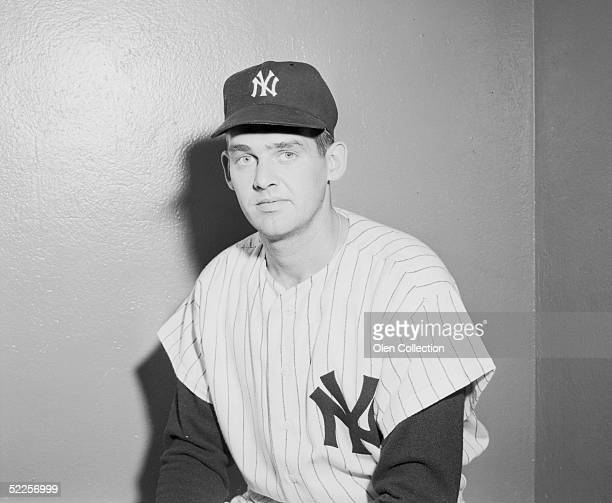 BRONX NY 1950's Pitcher Don Larsen of the New York Yankees poses for a portrait prior to a game at Yankee Stadium in the Bronx New York Larson played...