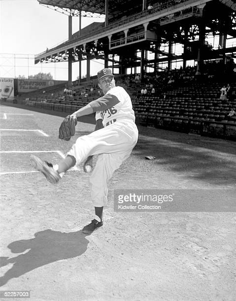 BROOKLYN NY 1950's Pitcher Don Newcombe of the Brooklyn Dodgers poses for an action portrait at Ebbets Field in Brooklyn New York in the 1950's