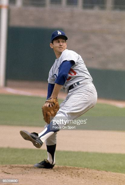 S: Pitcher Don Sutton of the Los Angeles Dodgers pitches against the New York Mets during circa 1960's Major League Baseball game at Shea Stadium in...