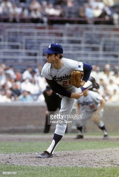 S: Pitcher Don Sutton of the Los Angeles Dodgers pitches against the Chicago Cubs during circa 1960's Major League Baseball game at Wrigley Fields in...