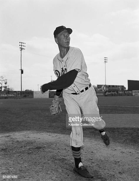 TAMPA FL CIRCA 1950's Pitcher Hal Newhouser of the Detroit Tigers poses for an acion portrait during Spring Training in the early 1950's at Tampa...