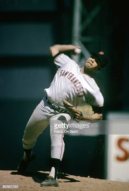 Pitcher Jaun Marichal of the San Francisco Giants pitches during circa late 1960's Major League Baseball game. Marichal played for the Giants from...