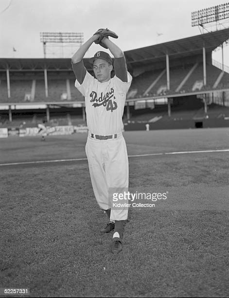 BROOKLYN NY 1950's Pitcher Johnny Podres of the Brooklyn Dodgers poses for an action portrait circa 1950's at Ebbets Field in Brooklyn New York...