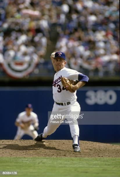 ARLINGTON TX CIRCA 1960's Pitcher Nolan Ryan of the Texas Rangers pitches during a circa early 1990's Major League Baseball game at Arlington Stadium...