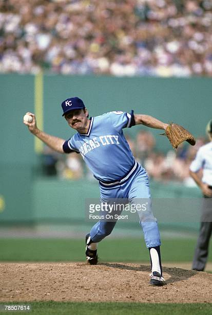 BOSTON MA CIRCA 1980's Pitcher Pitcher Dan Quisenberry of the Kansas City Royals pitches against the Boston Red Sox during circa mid 1980's Major...