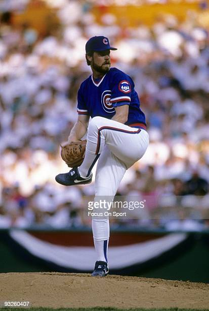 CIRCA 1980's Pitcher Rick Sutcliffe of the Chicago Cubs pitches during a circa 1980's Major League Baseball game Sutcliffe played for the Cubs from...