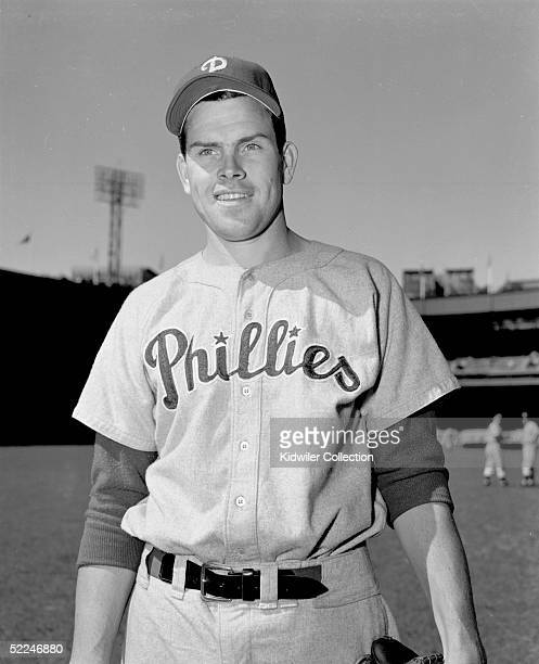 MANHATTAN NY 1950's Pitcher Robin Roberts of the Philadelphia Phillies poses for a portrait prior to a 1950's game against the New York Giants at the...