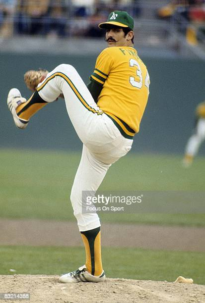 CIRCA 1970's Pitcher Rollie Fingers of the Oakland Athletics pitches during a circa early 1970's Major League Baseball game Fingers played for the...