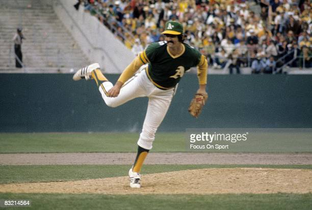OAKLAND CA CIRCA 1970's Pitcher Rollie Fingers of the Oakland Athletics pitches during a circa early 1970's Major League Baseball game at the Oakland...