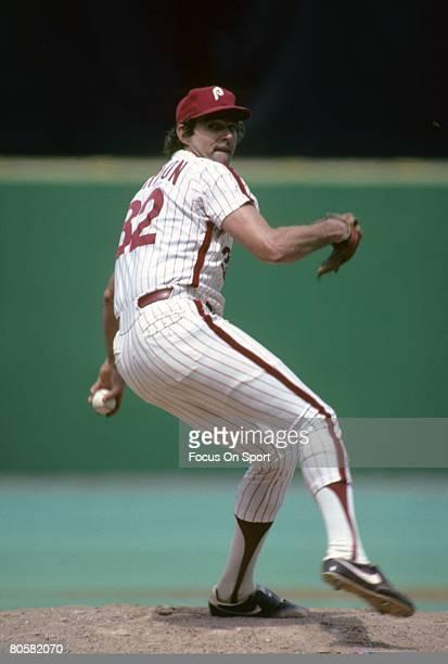 S: Pitcher Steve Carlton of the Philadelphia Phillies pitches during circa mid 1970's Major League Baseball game at Veterans Stadium in Philadelphia,...